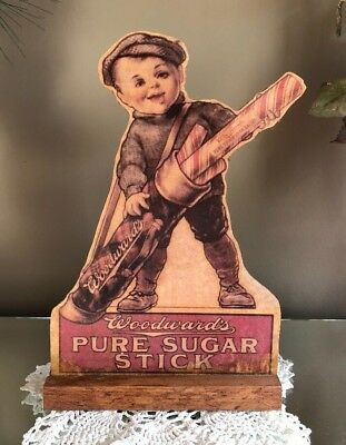 Early Antique Woodwards Pure Sugar Stick Candy Store Standup Advertising Display
