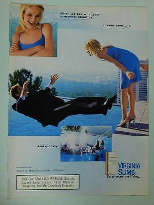 1999 Virginia Slims Cigarettes Vintage Ad Page - Sexy Girl Pushing Guy into Pool