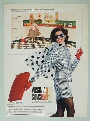 1990 Virginia Slims Cigarettes Vintage Ad Page Sexy Model Girl Smoking Cleaning