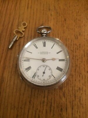 antique 1874 silver fusee pocket watch By A Miller Of Trafalgar St Brighton !
