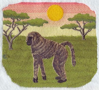 Large Embroidered Zippered Tote - Savanna Baboon Scene M1918