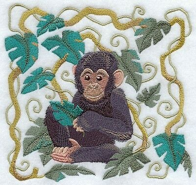 Large Embroidered Zippered Tote - Art Nouveau Chimpanzee C9538