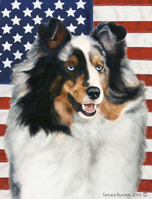 Large Indoor/Outdoor Patriotic II Flag - Blue Merle Shetland Sheepdog 32090