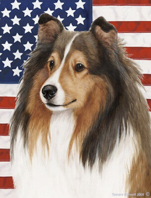 Large Indoor/Outdoor Patriotic II Flag - Sable Shetland Sheepdog Sheltie 32014