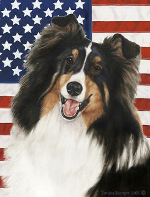 Large Indoor/Outdoor Patriotic II Flag - Tri Shetland Sheepdog Sheltie 32082