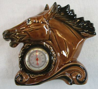 Vintage Horse Head Figurine with Thermometer Works! EXVC