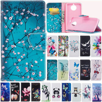 Cartoon Patterned PU Leather Wallet Case Flip Cover For Motorola Moto G5S G6 G5