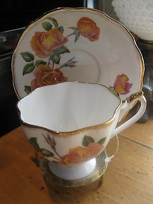 Vintage  Queen Anne Footed Tea Cup  &  Saucer  Double Red /yellow Roses  Pat.a1
