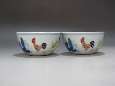 TH0072 Doucai porcelain Two cups Draw cock hen chick flower Tea cup Have mark