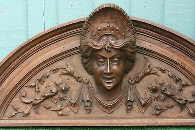 SUPERB 19thC GOTHIC WOODEN OAK PEDIMENT WITH FEMALES HEAD CENTRALLY c1880s
