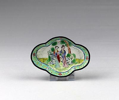 Fine Antique 19thC Chinese Qing Canton Enamelled Quatrefoil Spoon Tray / Bowl