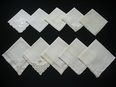 Lot of 20 Vintage White Wedding Hankies Handkerchiefs No Holes Good Condition