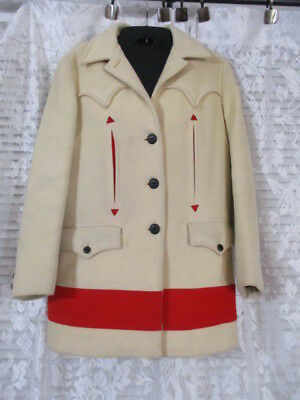 Vintage Wool Hudson Bay? Satin Lined Western Cowboy Cut Fitted Coat Blazer RARE