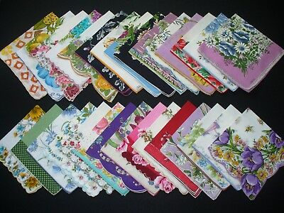 Lot of 30 Vintage Floral & Print Hankies Handkerchiefs Excellent Condition
