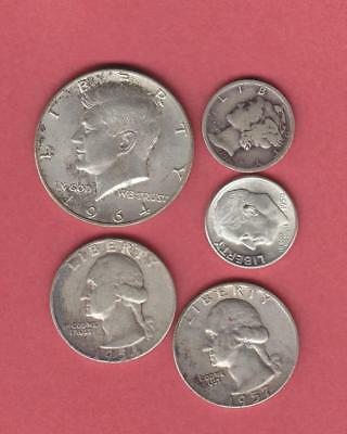 $1.20 Face Value 90% Junk Silver Quarters Dimes Halves Free Shipping!