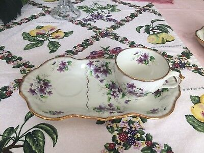 Royal Crown Plate W/ Cup Staffordshire England ,floral Print, Vintage, Crazing