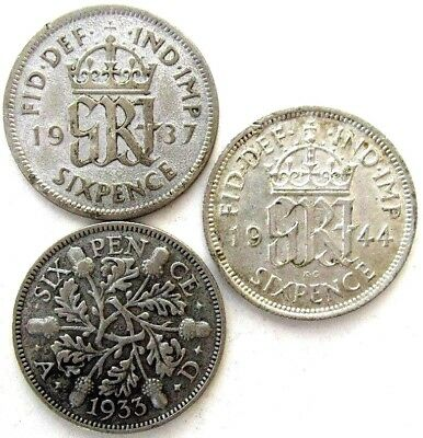 Great Britain Uk Coins, Sixpence 1933 & 1937 & 1944, George V - Vi, Silver 0.500