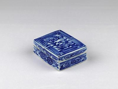 Fine 19thC Antique Chinese Qing Blue & White Rectangular Scholar's Covered Box