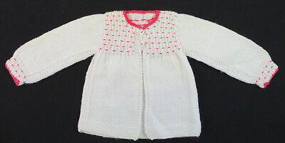 Vintage Hand Knitted Baby Sweater Flocked Bodice New Never Used Size 0