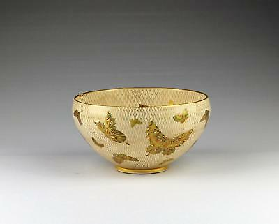 Fine Large Antique 19thC Meiji Japanese Kyoto Awata Butterfly Satsuma Bowl