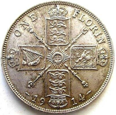 Great Britain Uk Coins, One Florin 1914, George V, Silver 0.925