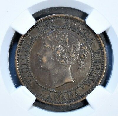 1858 CANADA 1C LARGE CENT Bronze KM 1 NGC XF 45 BN A5358