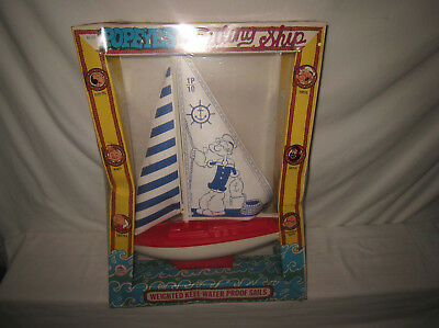 Vintage HG Toys Popeye Sailing Ship W/Weighted Keel & Water Proof Sails MIB MQ7