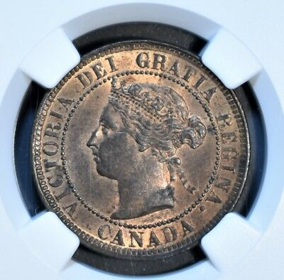 1884 CANADA 1C LARGE CENT Bronze KM 7 NGC MS 62 RB *RED* A5363