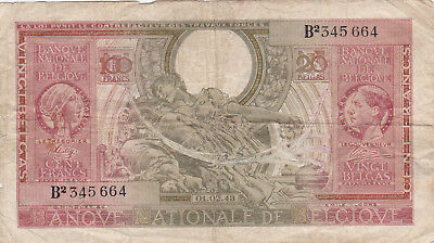 100 Francs Fine Banknote From German Occupied Belgium 1943!pick-123
