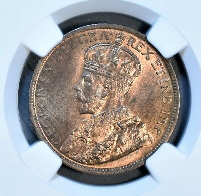 1914 CANADA 1C LARGE CENT Bronze KM 21 NGC MS 65 RB *RED* A5378