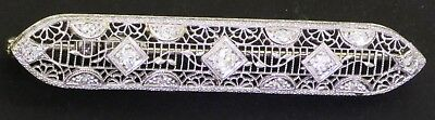 14K WG 0.65CT VS1/F diamond filigree bar brooch pin
