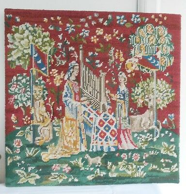 Vintage Tapestry Medieval Scene With The Unicorn Hearing 49Cm X 49Cm On Board