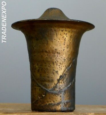 RARE Vintage 1983 Jaan MOBACH Bronze UFO Vase Dutch Pottery Fat Lava Era Op Art