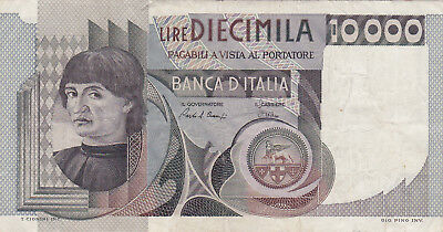 10 000 Lire Vf Banknote From Italy 1976!pick-106