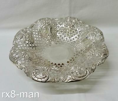 1908 SUPERB SOLID STERLING SILVER PIERCED EMBOSSED PEDESTAL BOWL DISH 205g