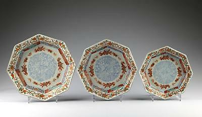 Rare Graduated Set of 3 Antique 18/19C Edo Japanese Arita Imari Porcelain Bowls