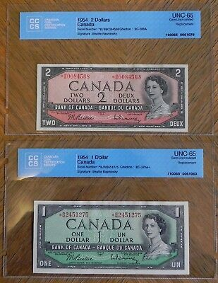Scarce 1954 $1 & $2 Bank of Canada Notes Certified UNC-65 Gem UNC Replacement