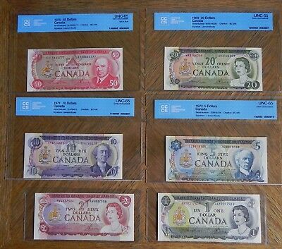 Superb Set of Bank of Canada Multi-colored Notes $1-$100