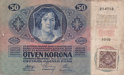 50 Korona/kronen Vg With Contemporary Forged Stamp From Czechoslovakia 1918