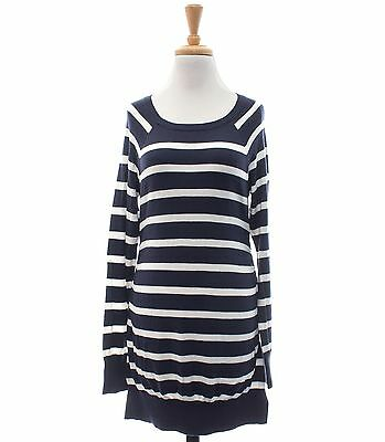 Liz Lange Maternity NWT Size M Knit Navy White Striped Long Sleeve Tunic Sweater