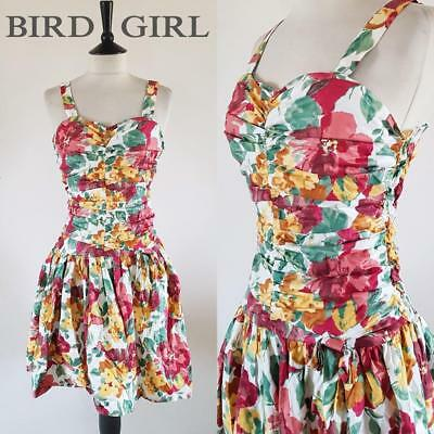 Full Circle 1980S Vintage White Floral Ruched Grunge Swing Sun Dress 6-8 Xs