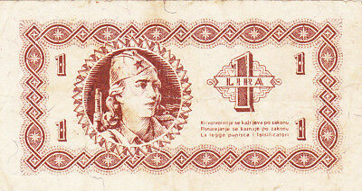 1 Lira Vg Note From Yugoslavian Partizan Army In The Former Italian Lands 1945!