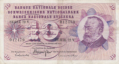 10 Francs Fine Banknote From Switzerland 1971!pick-45