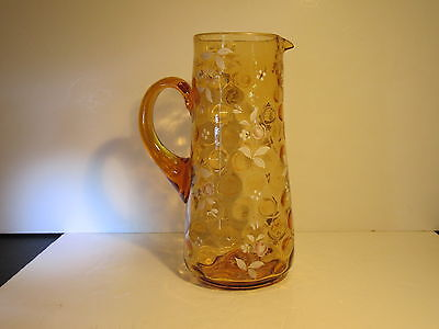 Antique Mouth Blown Amber Inverted Coin Spot With Hand Decorated Florals Pitcher