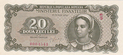 20 Lei Unc Crispy Banknote From Romania 1950!pick-83