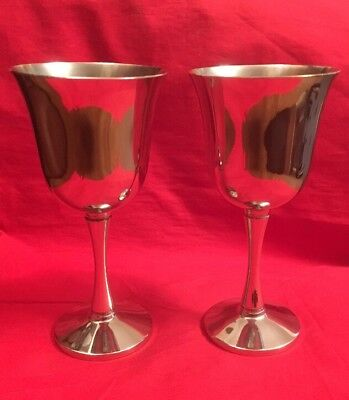Pair Of Vintage Portuguese Silver Plated Goblets c.1980's