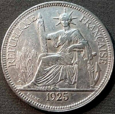 French Indo-China 1925 A Silver Piastre KM#5a.1