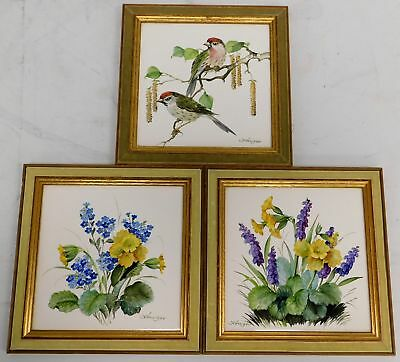 Three DW Fine Porcelain Hand Painted Art Tiles In Wooden Frames - G26