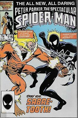 Peter Parker, The Spectacular Spider-Man No.116 / 1986 Spider-Man vs. Sabretooth