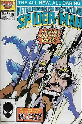 Peter Parker, The Spectacular Spider-Man No.119 / 1986 Spider-Man vs. Sabretooth